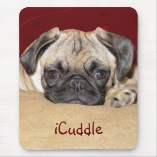 Cute iCuddle Pug Puppy Mouse Pad