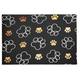 Cute illustrated dog paws doormat