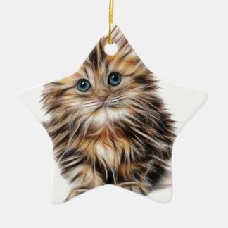 Cute Illustrated Kitten Ceramic Star Decoration