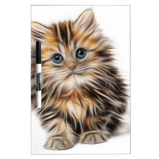 Cute Illustrated Kitten Dry Erase White Board