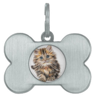 Cute Illustrated Kitten Pet Name Tag