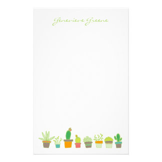 Cute Illustrated Succulent Monogram Stationery