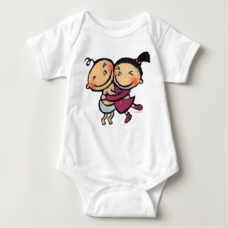 Cute Illustrated Toddlers Hugging Baby Bodysuit