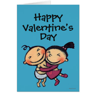 Cute Illustrated Toddlers Hugging Card