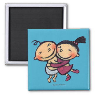 Cute Illustrated Toddlers Hugging Magnet