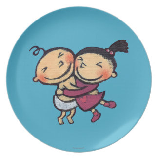 Cute Illustrated Toddlers Hugging Party Plates