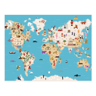 Cute Illustrated World Map Postcard