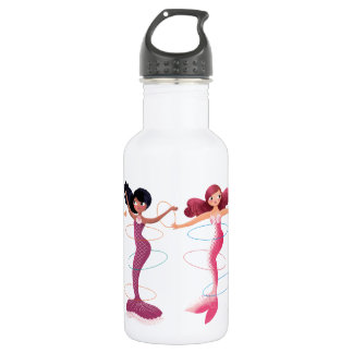 Cute illustration of mermaids' day on the Beach 532 Ml Water Bottle