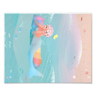 Cute illustration of mermaids' day on the Beach Photo Print