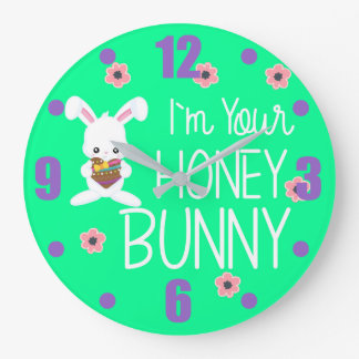 Cute I'm Your Honey Bunny Rabbit Flowers Large Clock