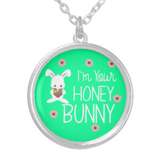 Cute I'm Your Honey Bunny Rabbit Flowers Silver Plated Necklace