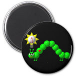 Cute Inchworm with an idea! 6 Cm Round Magnet