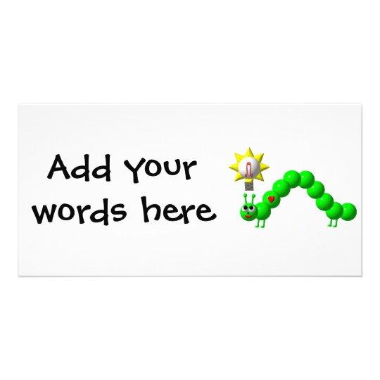 Cute Inchworm with an idea! Photo Greeting Card