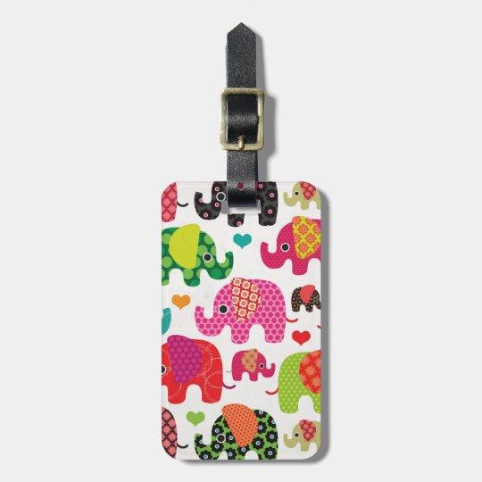 Cute india elephant festival pattern travel tag