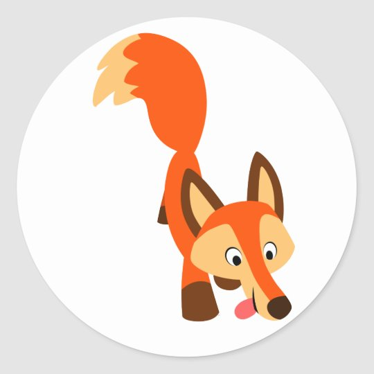 Cute Inquisitive Cartoon Fox Sticker