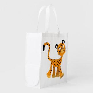 Cute Insouciant Cartoon Cheetah Reusable Bag