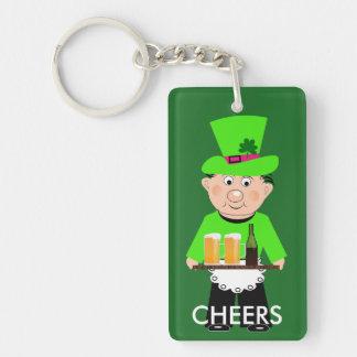 Cute Irish Leprechaun Green White Orange Flag Double-Sided Rectangular Acrylic Key Ring