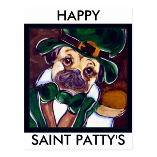 Cute Irish Pug Post Cards