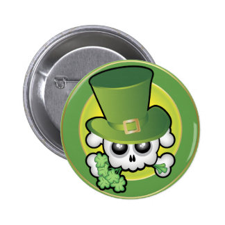 Cute Irish Skull Pinback Button