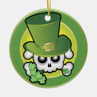Cute Irish Skull Double-Sided Ceramic Round Christmas Ornament