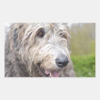 Cute Irish Wolfhound Rectangle Stickers