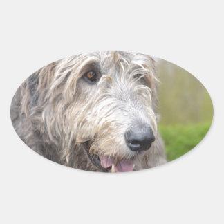 Cute Irish Wolfhound Oval Sticker