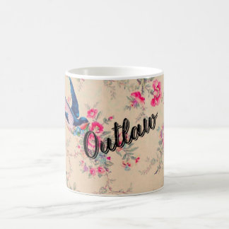 "Cute ironic vintage floral mug ""outlaw"""