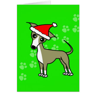 Cute Italian Greyhound Cartoon Santa Hat Card