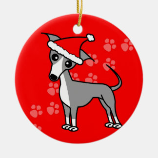 Cute Italian Greyhound Cartoon Santa Hat Christmas Ornament