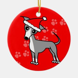 Cute Italian Greyhound Cartoon Santa Hat Round Ceramic Decoration