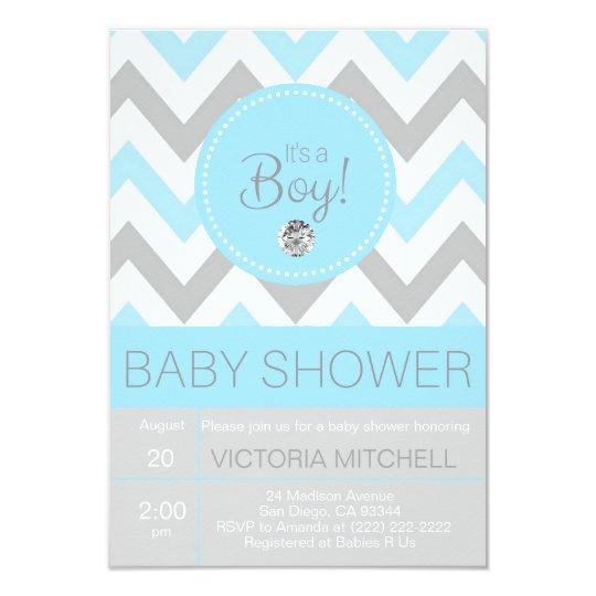 Cute 'It's a Boy' Blue/Grey Chevron Baby Shower