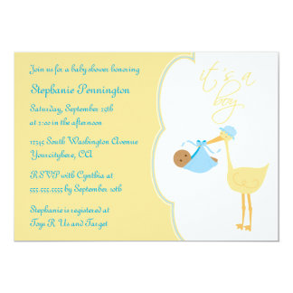 Cute it's a boy blue stork baby shower invitation