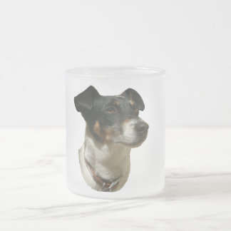 Cute Jack Russell Dog Frosted Glass Coffee Mug