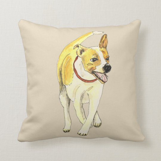 Cute Jack Russell Funny Watercolour Dog Art Design Cushion