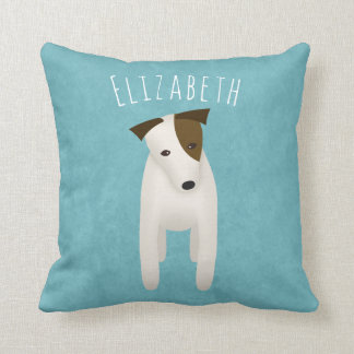 cute jack russell terrier with head tilt cushion