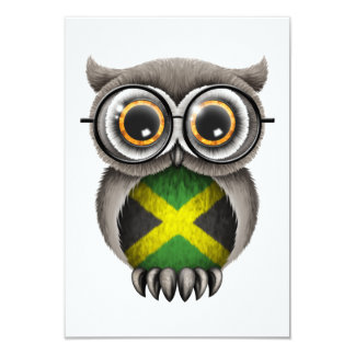 Cute Jamaican Flag Owl Wearing Glasses Card