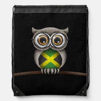 Cute Jamaican Flag Owl Wearing Glasses Drawstring Bag