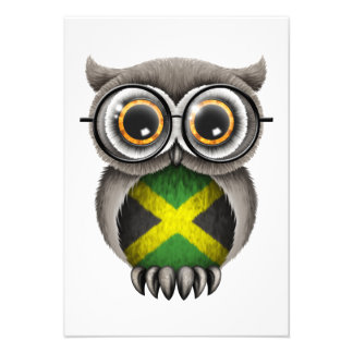 Cute Jamaican Flag Owl Wearing Glasses Personalized Invites