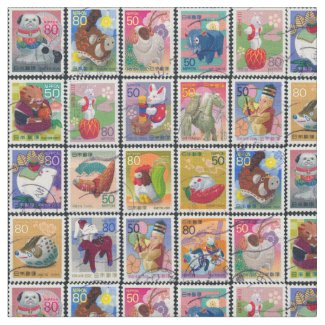 Cute Japan Year of Animal Stamps Pattern Fabric