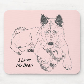 Cute Japanese akita with pink teddy bear art Mousepad