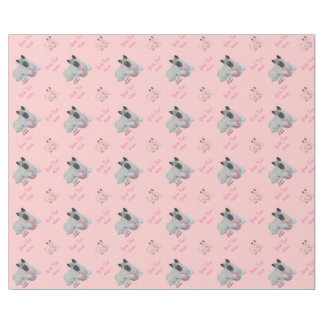 Cute Japanese akita with pink teddy portrait art Wrapping Paper