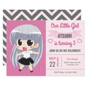 Cute Japanese Anime Girl Birthday Party Invitation
