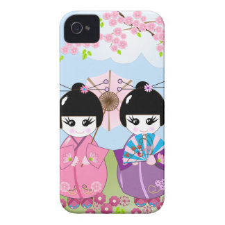 Cute Japanese dolls with Cherry flowers Case-Mate iPhone 4 Case