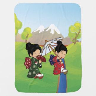 Cute Japanese Girls Walking Baby Blanket