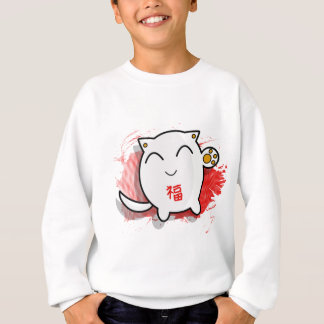 cute Japanese lucky cat design white/red Sweatshirt