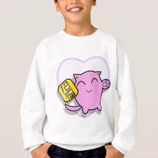 cute japanese lucky cat - pink sweatshirt