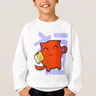 cute japanese lucky cat - red sweatshirt