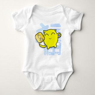 cute japanese lucky cat - yellow baby bodysuit