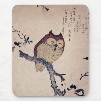 Cute Japanese Smiling Owl Mouse Pad