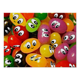 Cute Jelly Bean Smileys Poster